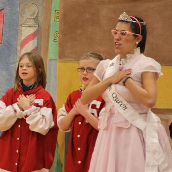 Kids and an opera princess in costume