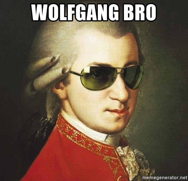 Traditional Mozart portrait made into Bro meme