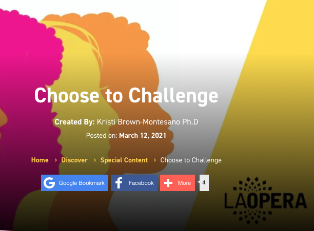 Blog post banner with title Choose to Challenge and multi-colored faces in profile