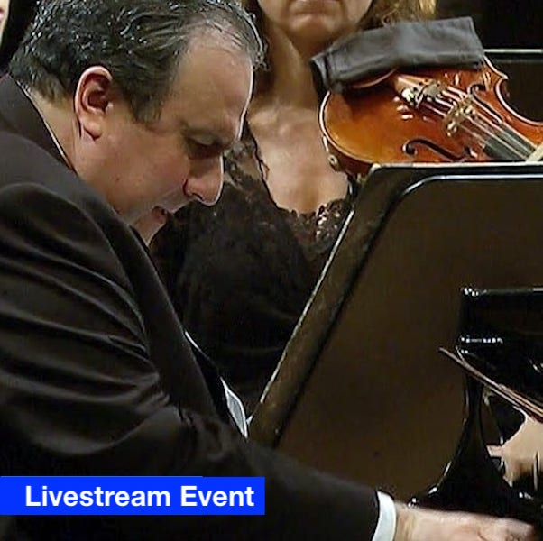 Close up of Yefim Bronfman performing at the piano